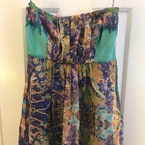 Tibi Strapless Silk Multi-Color Dress, Size 2